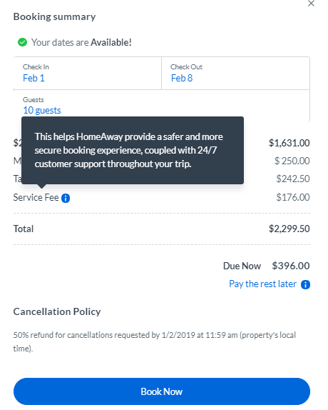HomeAway Service Fee