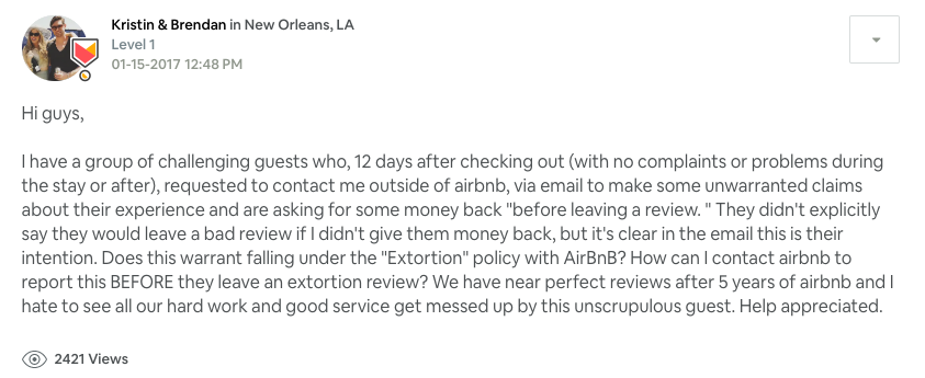 AirBnB Bad Review for Refund